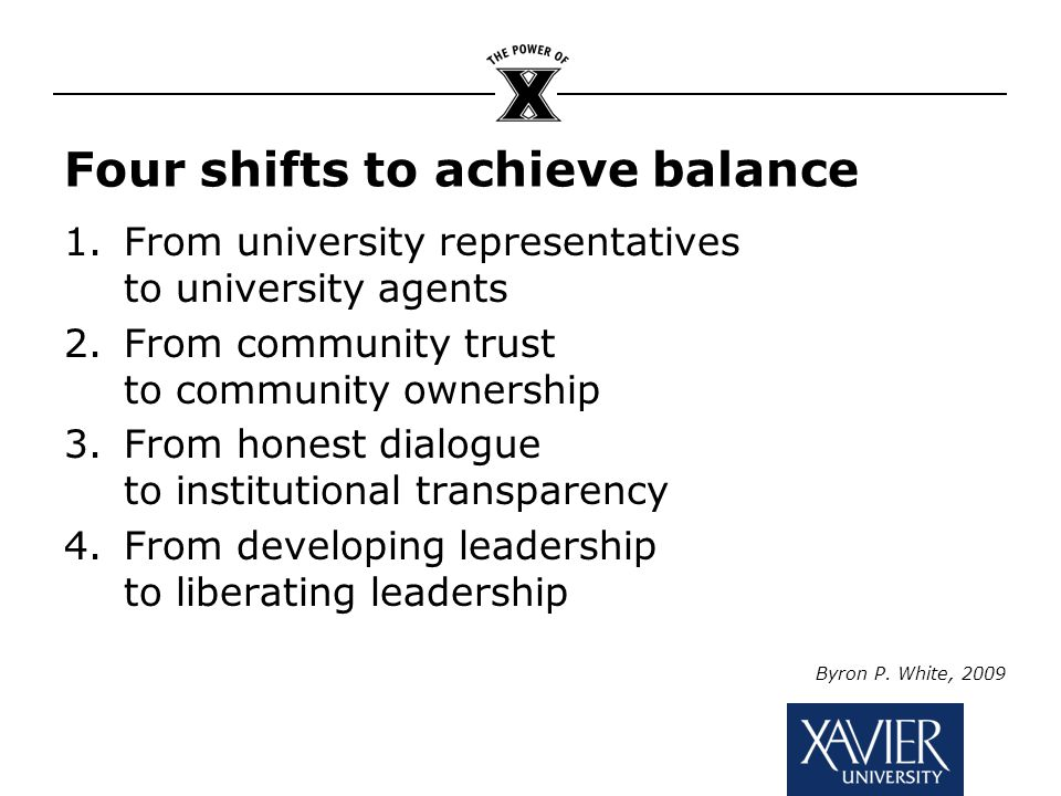 Four shifts to achieve balance 1.From university representatives to university agents 2.From community trust to community ownership 3.From honest dialogue to institutional transparency 4.From developing leadership to liberating leadership Byron P.