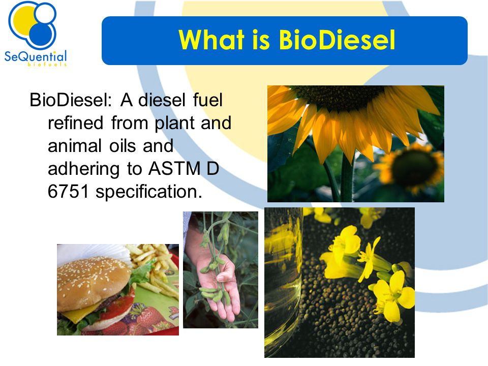 BioDiesel: A diesel fuel refined from plant and animal oils and adhering to ASTM D 6751 specification.
