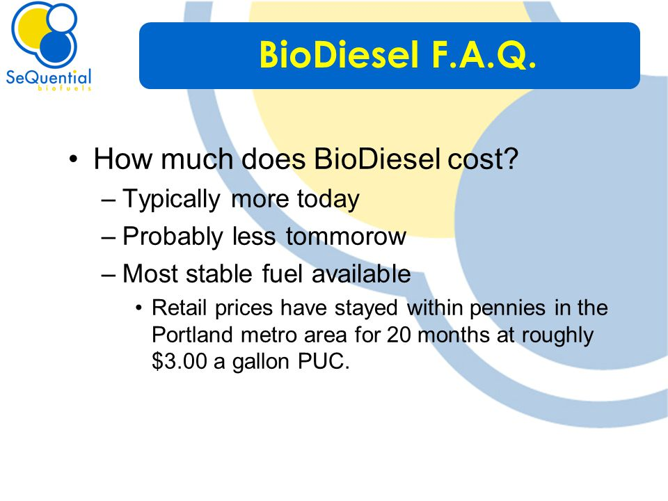 How much does BioDiesel cost.