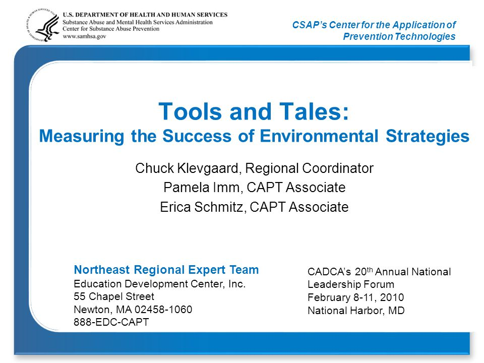 CSAP's Center for the Application of Prevention Technologies Objectives 1.To understand recent advances in the field associated with the selection, implementation and evaluation of environmental strategies.
