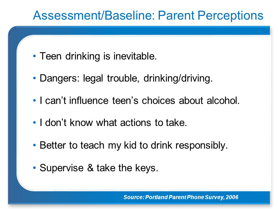 Assessment/Baseline: Parent Perceptions Teen drinking is inevitable. Dangers: legal trouble, drinking/driving. I can't influence teen's choices about