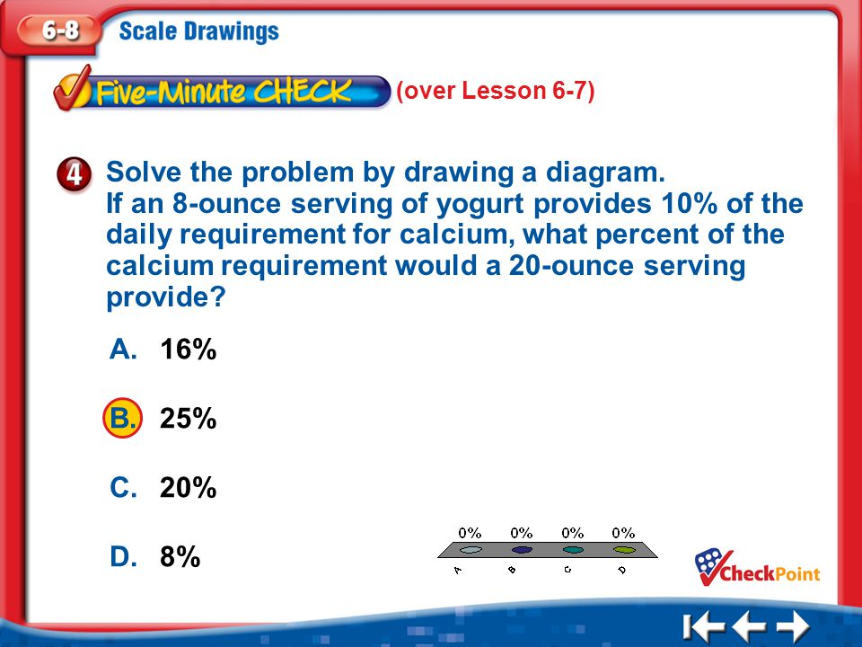 1.A 2.B 3.C 4.D Five Minute Check 4 A.16% B.25% C.20% D.8% Solve the problem by drawing a diagram.