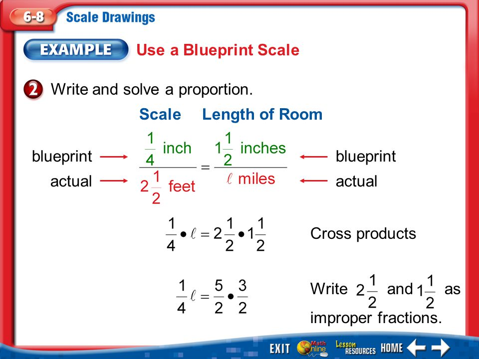 Example 2 Use a Blueprint Scale Write and solve a proportion.