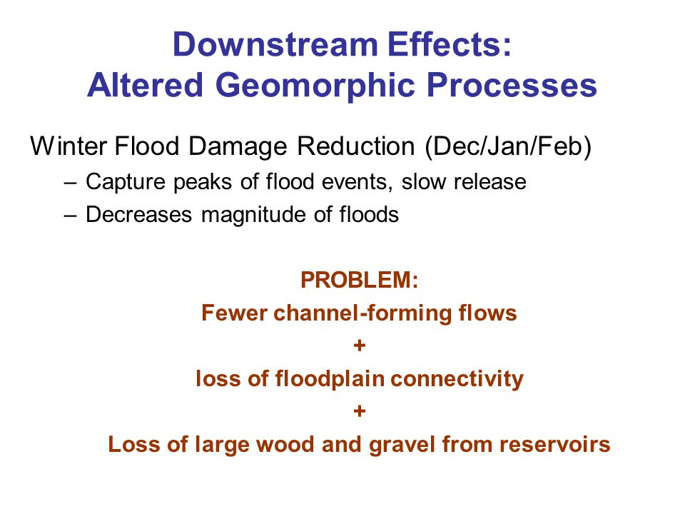Downstream Effects: Altered Geomorphic Processes Winter Flood Damage Reduction (Dec/Jan/Feb) –Capture peaks of flood events, slow release –Decreases m