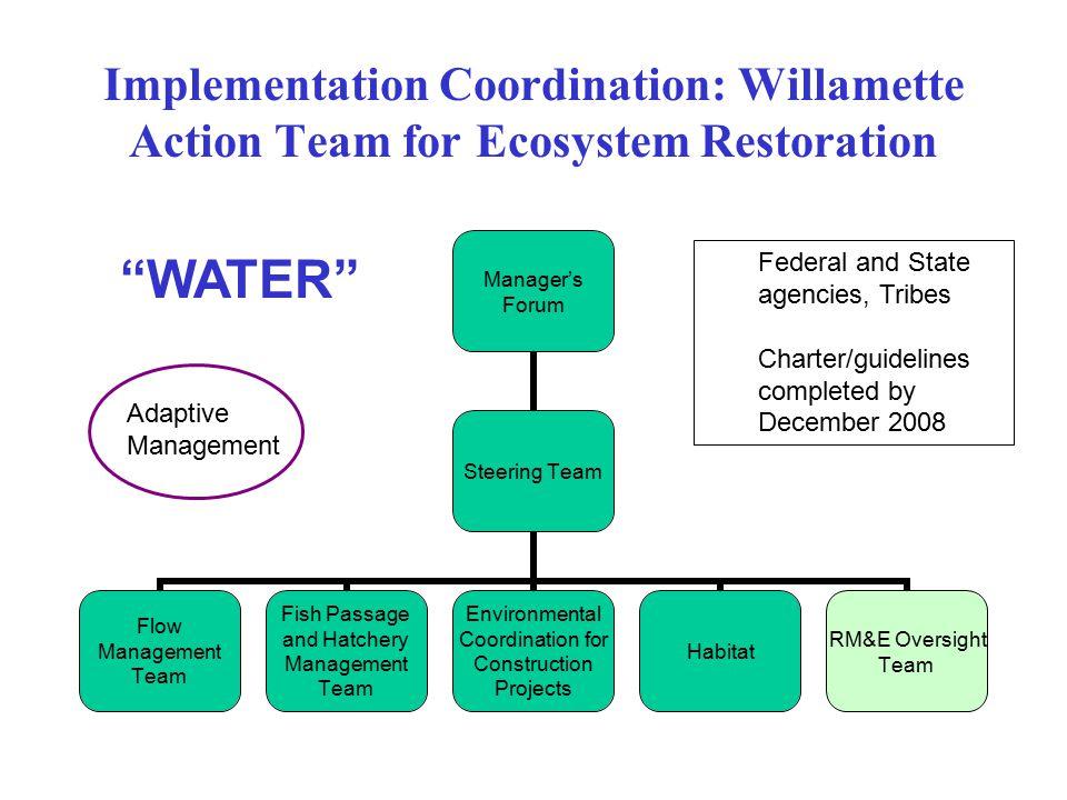 Implementation Coordination: Willamette Action Team for Ecosystem Restoration Manager's Forum Steering Team Flow Management Team Fish Passage and Hatc