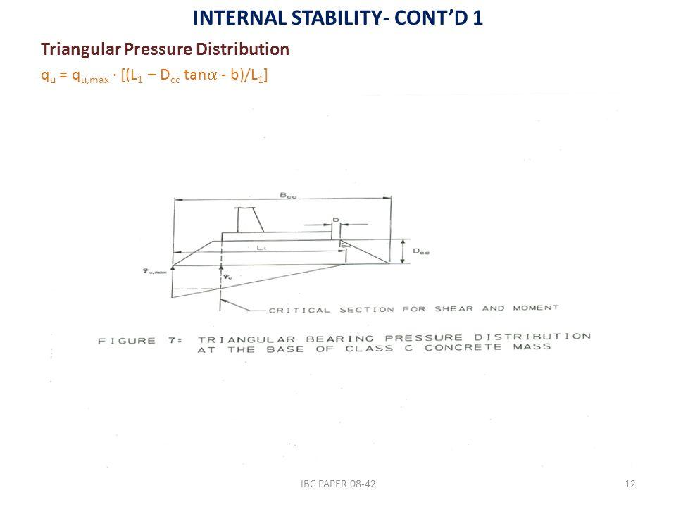 INTERNAL STABILITY- CONT'D 1 Triangular Pressure Distribution q u = q u,max ∙ [(L 1 – D cc tan  - b)/L 1 ] IBC PAPER 08-4212