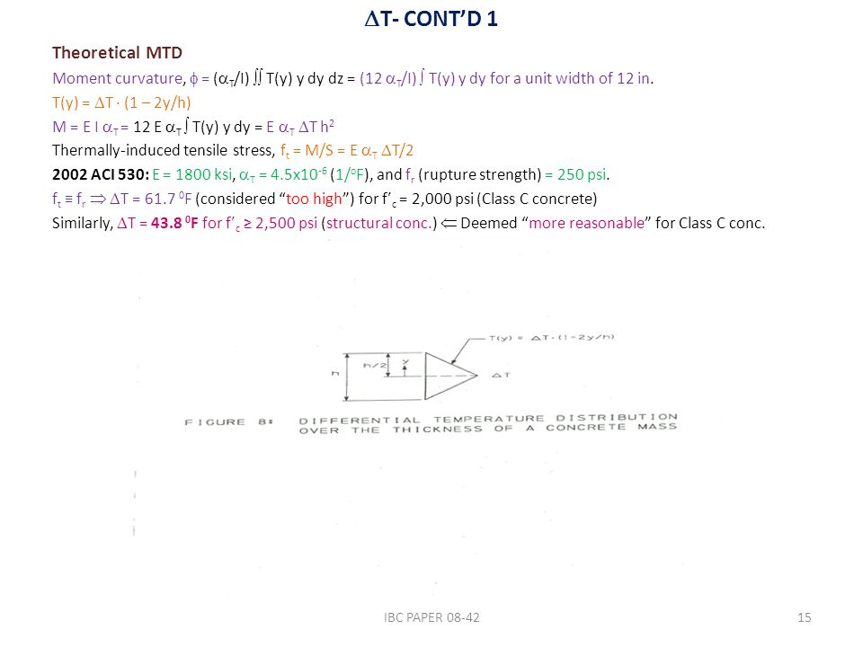  T- CONT'D 1 Theoretical MTD Moment curvature,  = (  T /I)  T(y) y dy dz = (12  T /I)  T(y) y dy for a unit width of 12 in. T(y) =  T ∙ (1 – 2