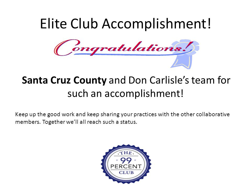 Elite Club Accomplishment! Santa Cruz County and Don Carlisle's team for such an accomplishment! Keep up the good work and keep sharing your practices