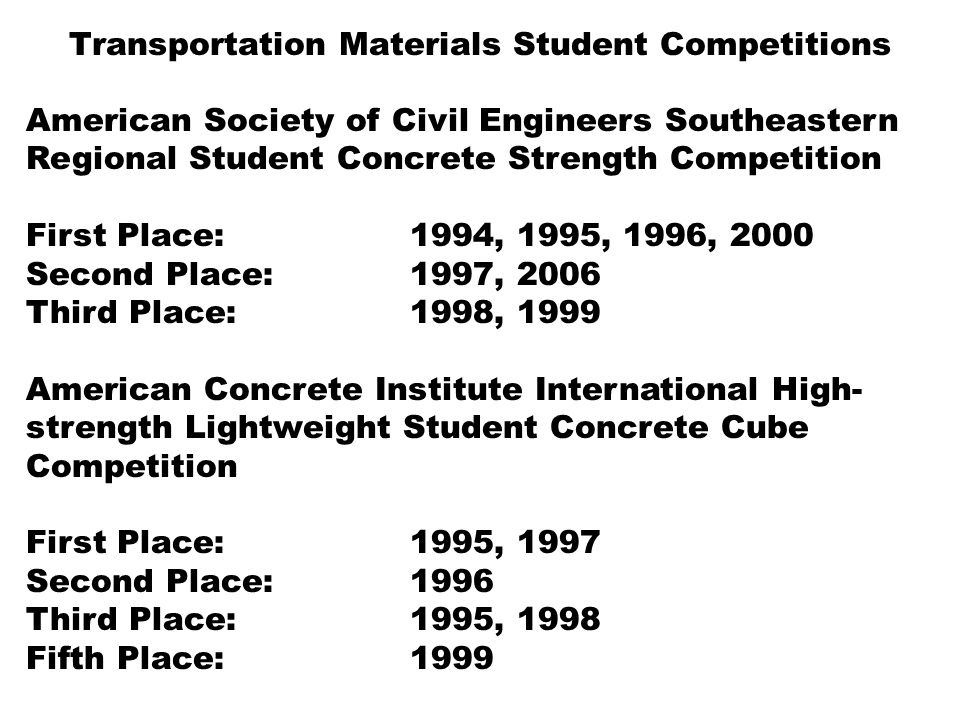 Transportation Materials Student Competitions American Society of Civil Engineers Southeastern Regional Student Concrete Strength Competition First Place: 1994, 1995, 1996, 2000 Second Place:1997, 2006 Third Place:1998, 1999 American Concrete Institute International High- strength Lightweight Student Concrete Cube Competition First Place: 1995, 1997 Second Place: 1996 Third Place: 1995, 1998 Fifth Place:1999