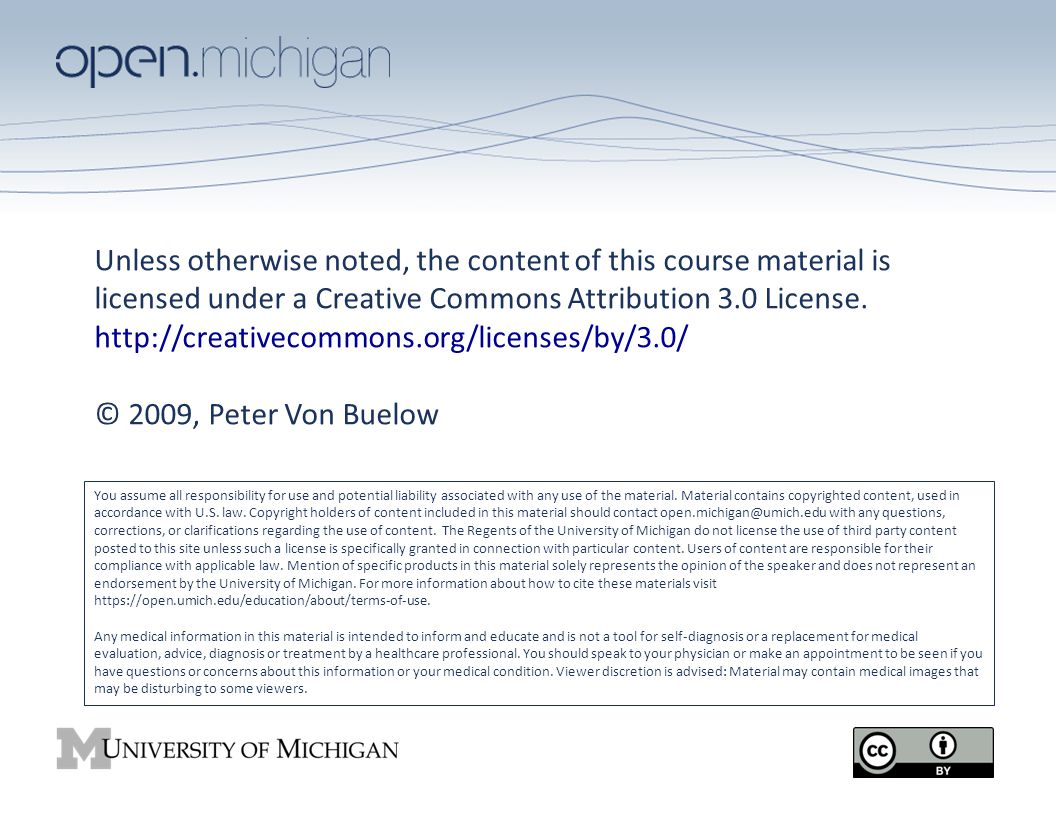 Unless otherwise noted, the content of this course material is licensed under a Creative Commons Attribution 3.0 License. http://creativecommons.org/l