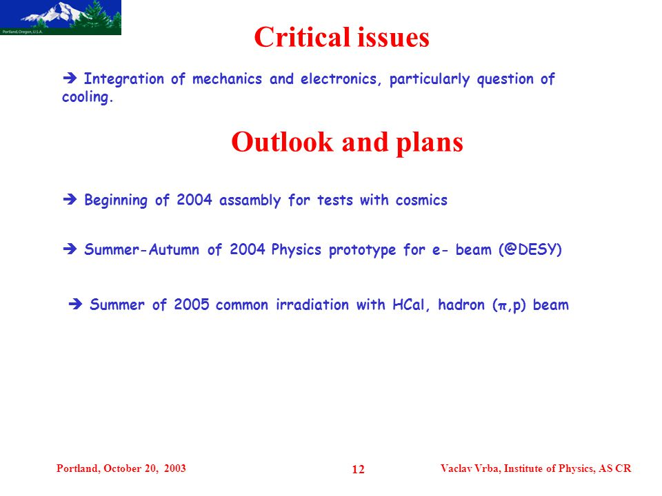 Portland, October 20, 2003Vaclav Vrba, Institute of Physics, AS CR 12 Critical issues  Integration of mechanics and electronics, particularly question of cooling.
