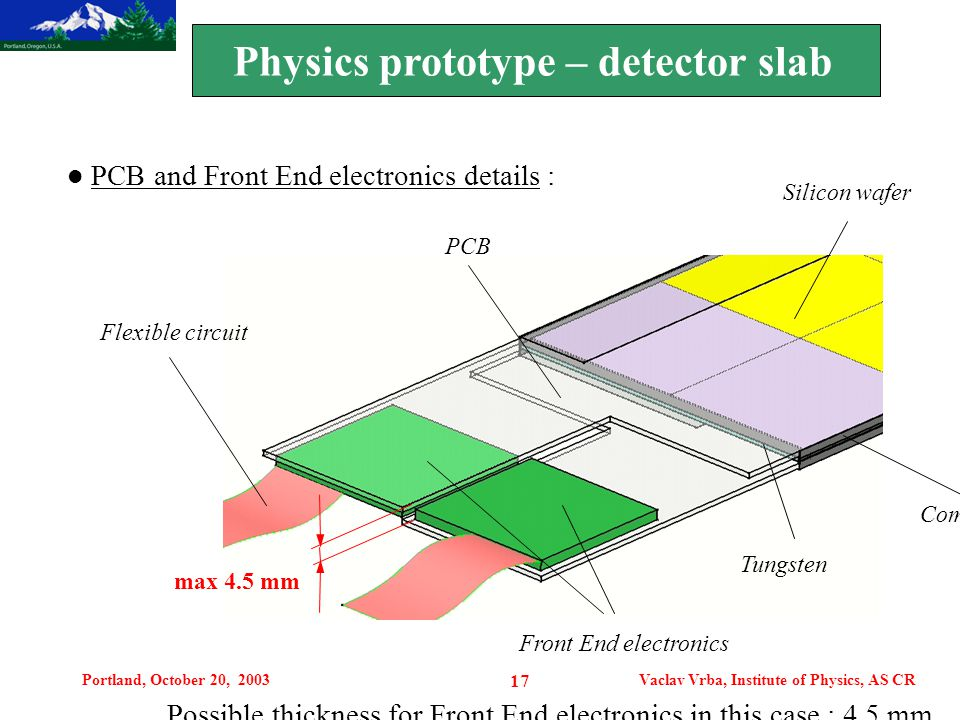 Portland, October 20, 2003Vaclav Vrba, Institute of Physics, AS CR 17 Motivation PCB and Front End electronics details : Silicon wafer Composite Tungs