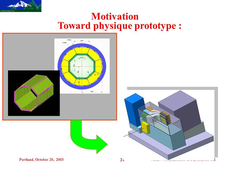 Portland, October 20, 2003Vaclav Vrba, Institute of Physics, AS CR 24 Motivation Toward physique prototype :