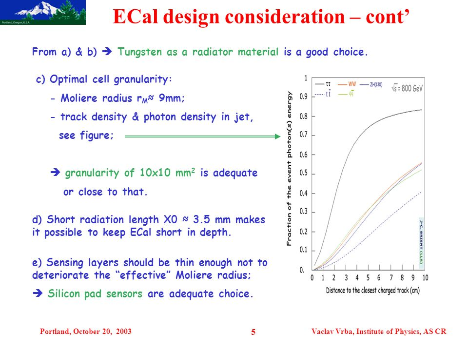 Portland, October 20, 2003Vaclav Vrba, Institute of Physics, AS CR 5 ECal design consideration – cont' From a) & b)  Tungsten as a radiator material is a good choice.