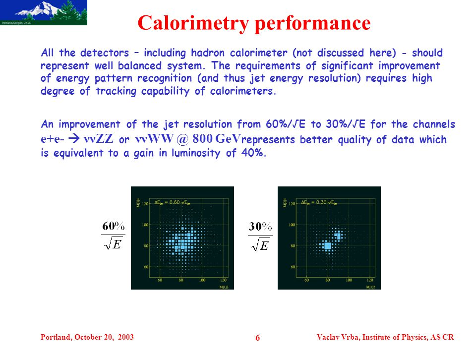 Portland, October 20, 2003Vaclav Vrba, Institute of Physics, AS CR 6 Calorimetry performance All the detectors – including hadron calorimeter (not discussed here) - should represent well balanced system.