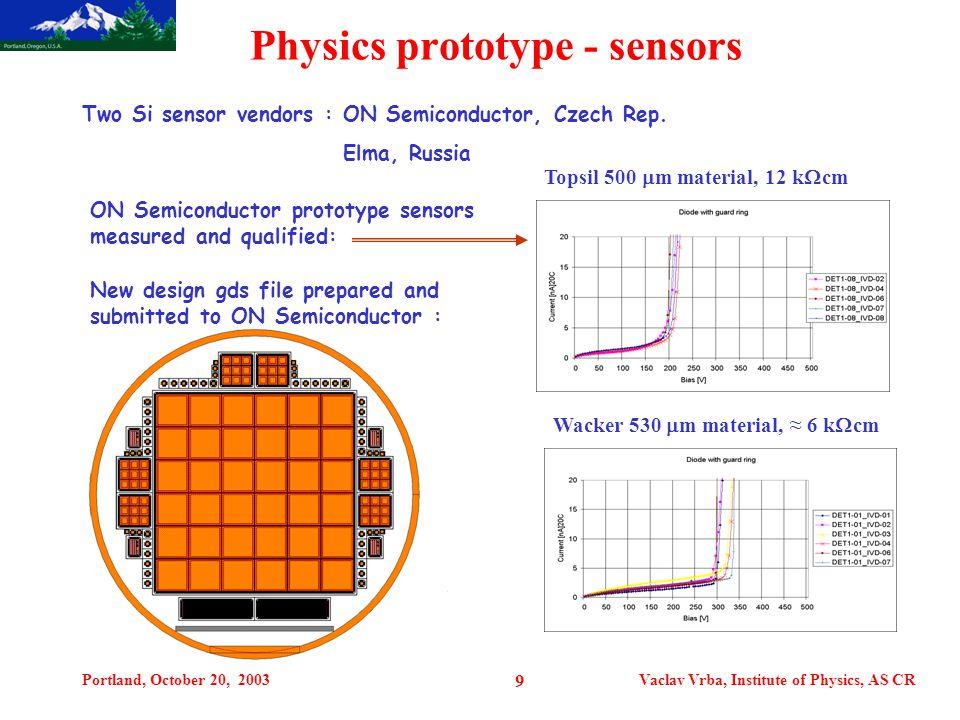 Portland, October 20, 2003Vaclav Vrba, Institute of Physics, AS CR 9 Physics prototype - sensors Wacker 530  m material, ≈ 6 k  cm Topsil 500  m material, 12 k  cm Two Si sensor vendors : ON Semiconductor, Czech Rep.