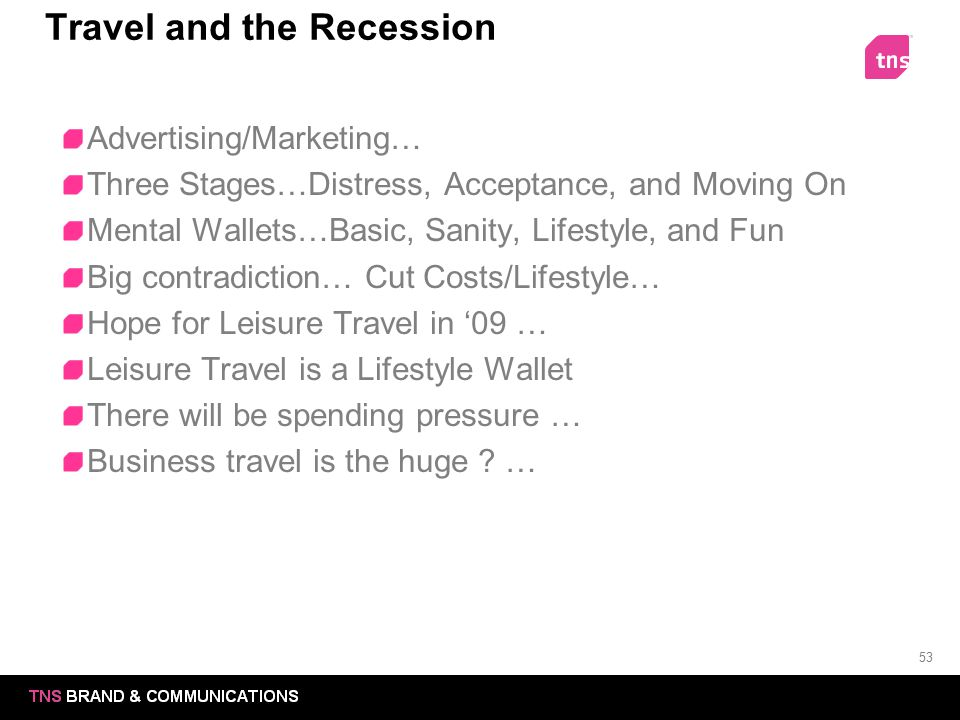 53 Travel and the Recession Advertising/Marketing… Three Stages…Distress, Acceptance, and Moving On Mental Wallets…Basic, Sanity, Lifestyle, and Fun B