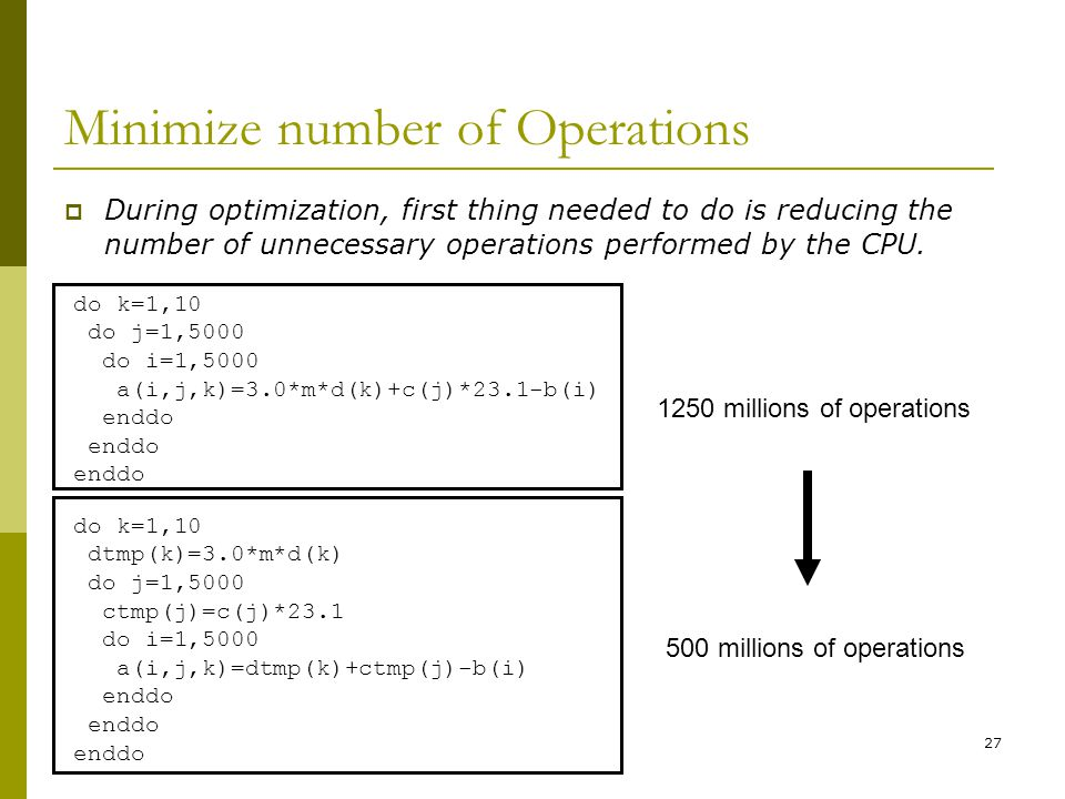 27 Minimize number of Operations  During optimization, first thing needed to do is reducing the number of unnecessary operations performed by the CPU