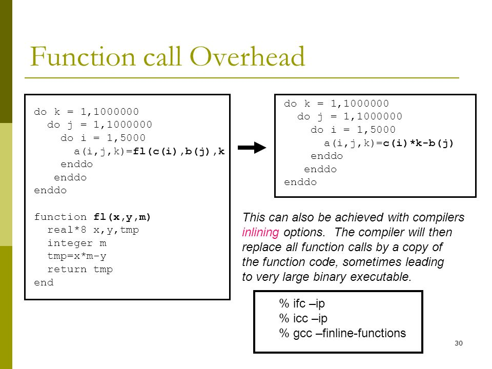 30 Function call Overhead do k = 1,1000000 do j = 1,1000000 do i = 1,5000 a(i,j,k)=fl(c(i),b(j),k enddo function fl(x,y,m) real*8 x,y,tmp integer m tmp=x*m-y return tmp end do k = 1,1000000 do j = 1,1000000 do i = 1,5000 a(i,j,k)=c(i)*k-b(j) enddo This can also be achieved with compilers inlining options.