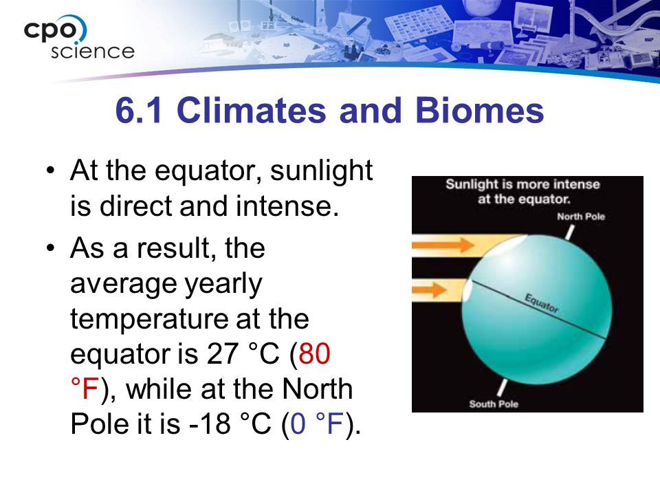 6.1 Climates and Biomes At the equator, sunlight is direct and intense.