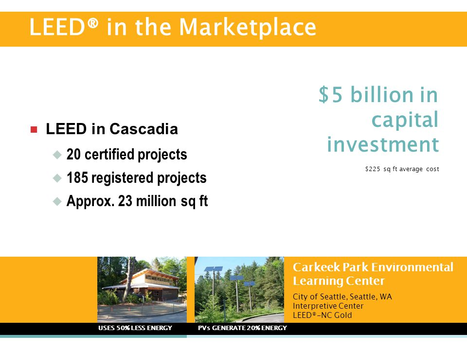  LEED in Cascadia  20 certified projects  185 registered projects  Approx. 23 million sq ft Carkeek Park Environmental Learning Center City of Sea