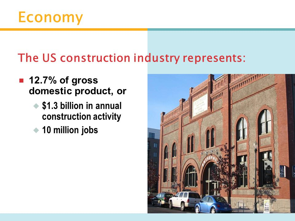 Economy  The average annualized costs per square feet are:  Energy – $2  Bricks & mortar – $20  Personnel – $200 US buildings cost: