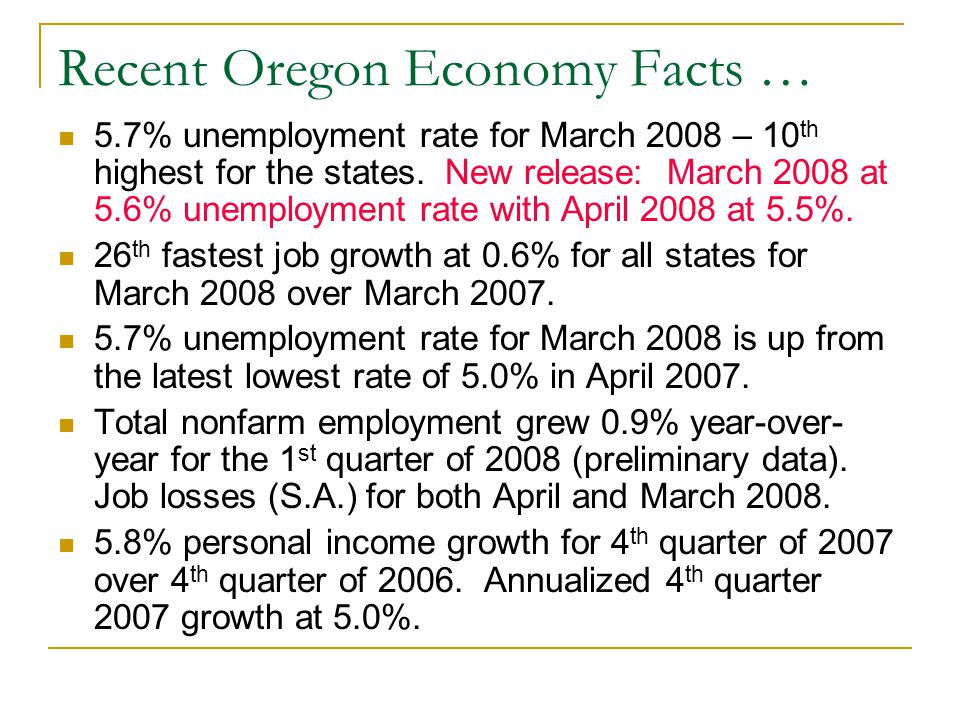 Recent Oregon Economy Facts … 5.7% unemployment rate for March 2008 – 10 th highest for the states.