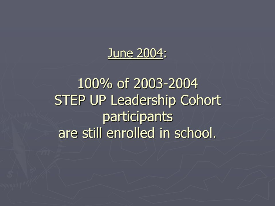 June 2004: 100% of 2003-2004 STEP UP Leadership Cohort participants are still enrolled in school.