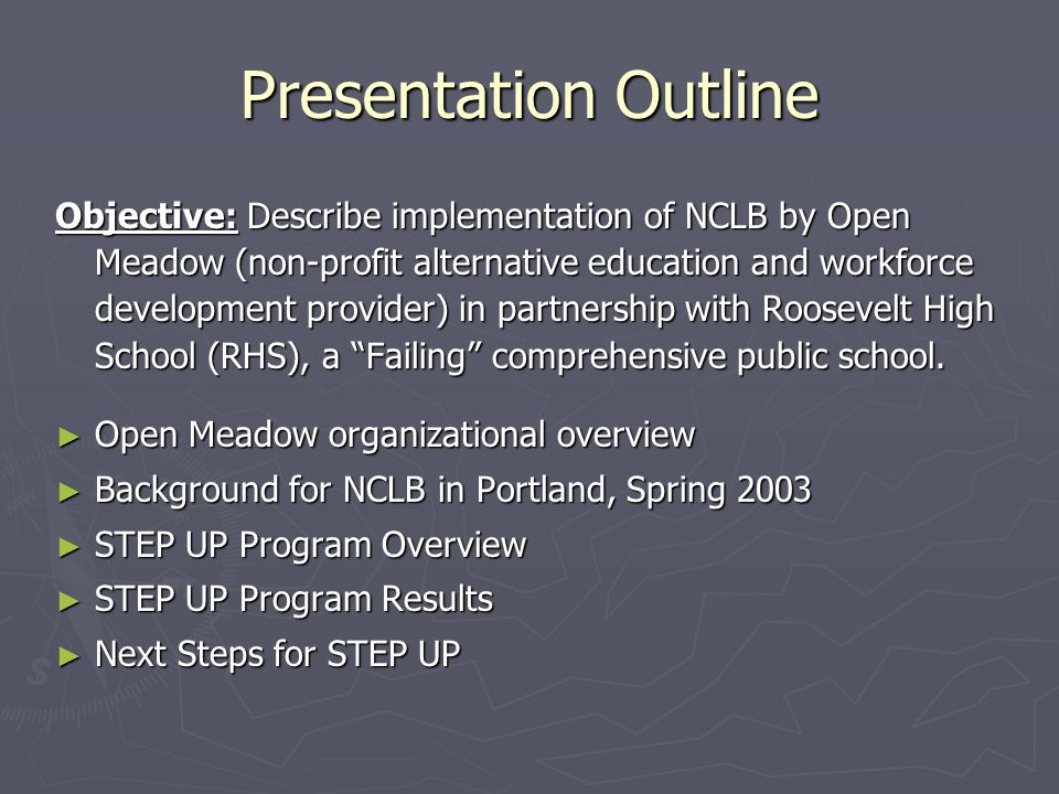 ► Supplemental Education Service Provider ► Served 140 RHS students after school ► 12 part-time tutors ► Academic tutoring: reading, writing, math ► Social, emotional, behavioral skill development using Open Meadow core cultural elements STEP UP Program Overview, Spring 2003