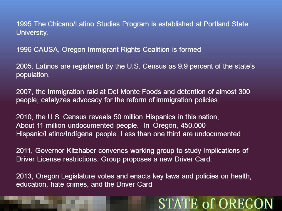 1995 The Chicano/Latino Studies Program is established at Portland State University.
