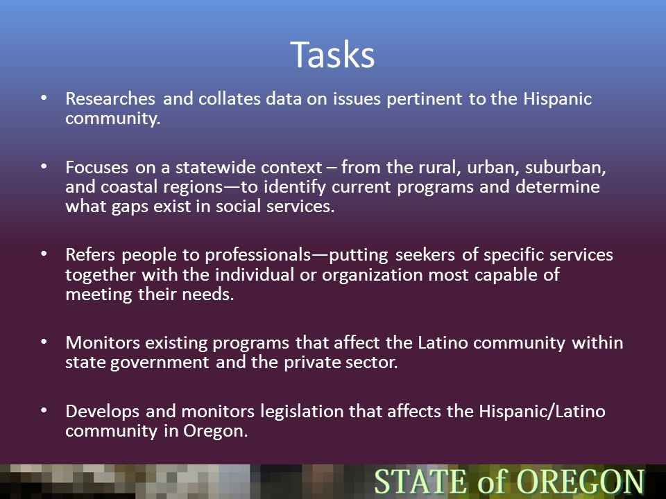 Tasks Researches and collates data on issues pertinent to the Hispanic community.
