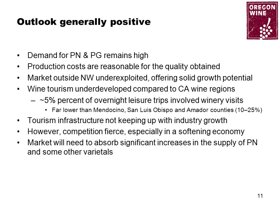 Outlook generally positive Demand for PN & PG remains high Production costs are reasonable for the quality obtained Market outside NW underexploited, offering solid growth potential Wine tourism underdeveloped compared to CA wine regions –~5% percent of overnight leisure trips involved winery visits Far lower than Mendocino, San Luis Obispo and Amador counties (10–25%) Tourism infrastructure not keeping up with industry growth However, competition fierce, especially in a softening economy Market will need to absorb significant increases in the supply of PN and some other varietals 11