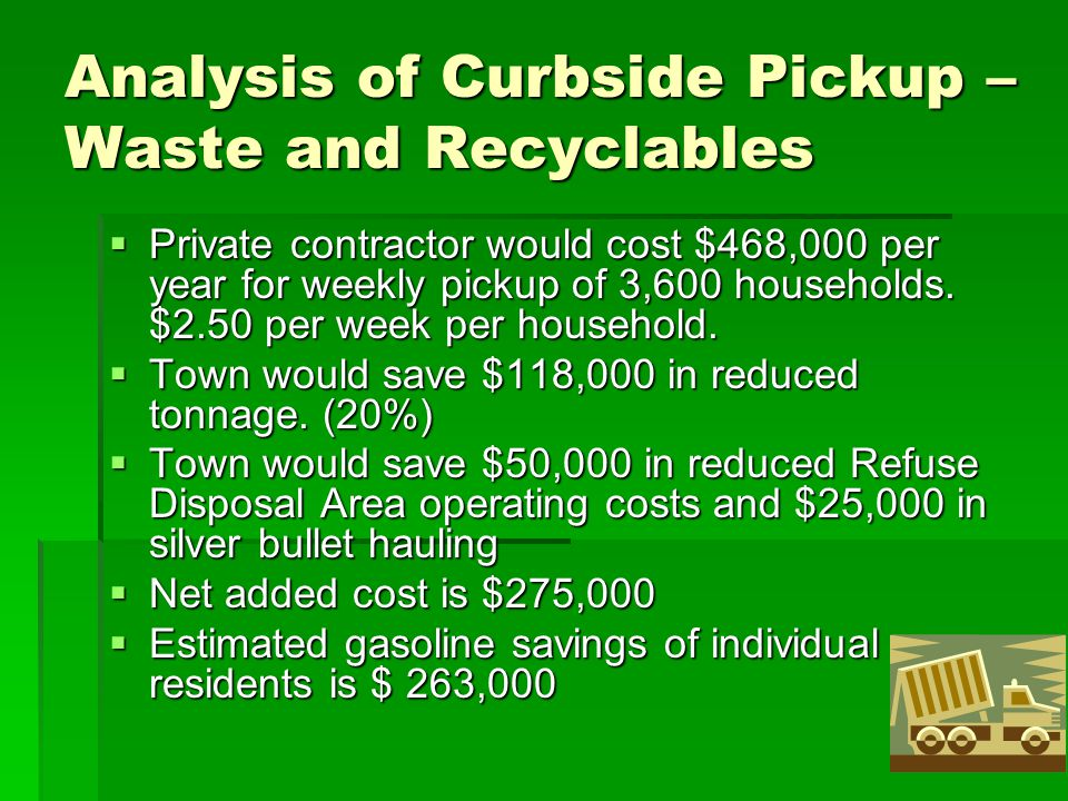 Analysis of Curbside Pickup – Waste and Recyclables  Private contractor would cost $468,000 per year for weekly pickup of 3,600 households. $2.50 per