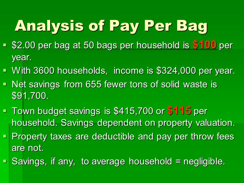Analysis of Pay Per Bag  $2.00 per bag at 50 bags per household is $100 per year.  With 3600 households, income is $324,000 per year.  Net savings