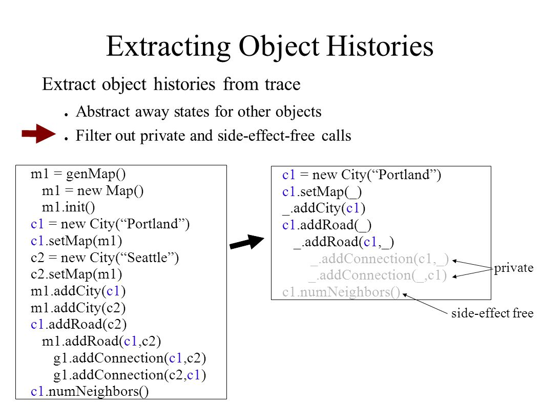 Extracting Object Histories m1 = genMap() m1 = new Map() m1.init() c1 = new City( Portland ) c1.setMap(m1) c2 = new City( Seattle ) c2.setMap(m1) m1.addCity(c1) m1.addCity(c2) c1.addRoad(c2) m1.addRoad(c1,c2) g1.addConnection(c1,c2) g1.addConnection(c2,c1) c1.numNeighbors() c1 = new City( Portland ) c1.setMap(_) _.addCity(c1) c1.addRoad(_) _.addRoad(c1,_) _.addConnection(c1,_) _.addConnection(_,c1) c1.numNeighbors() private side-effect free Extract object histories from trace ● Abstract away states for other objects ● Filter out private and side-effect-free calls