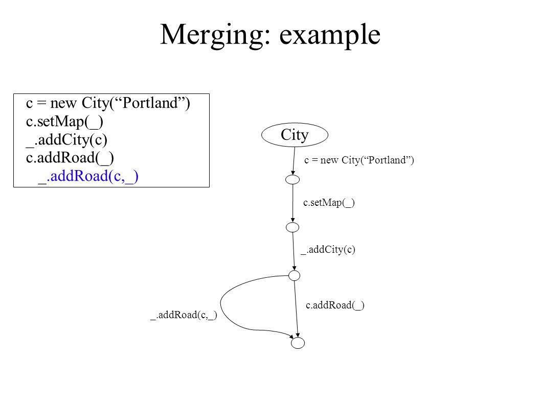 Merging: example c = new City( Portland ) c.setMap(_) _.addCity(c) c.addRoad(_) _.addRoad(c,_) City c.setMap(_) _.addCity(c) c.addRoad(_) _.addRoad(c,_) c = new City( Portland )