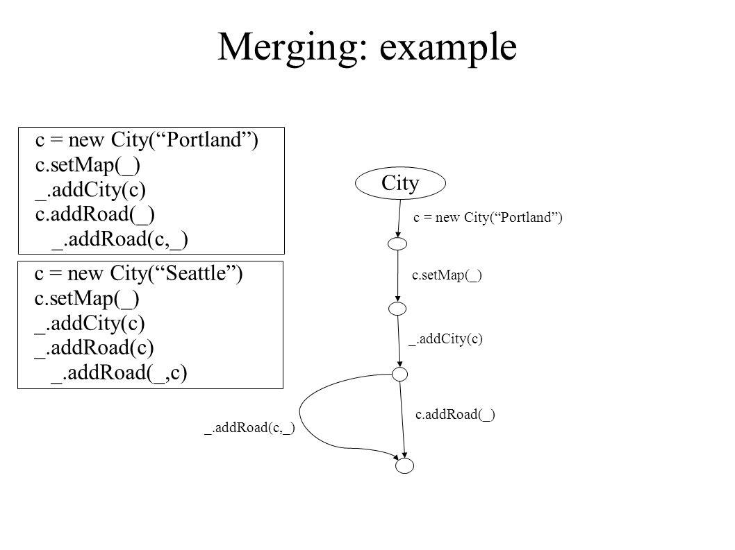 Merging: example c = new City( Portland ) c.setMap(_) _.addCity(c) c.addRoad(_) _.addRoad(c,_) c = new City( Seattle ) c.setMap(_) _.addCity(c) _.addRoad(c) _.addRoad(_,c) City c.setMap(_) _.addCity(c) c.addRoad(_) _.addRoad(c,_) c = new City( Portland )