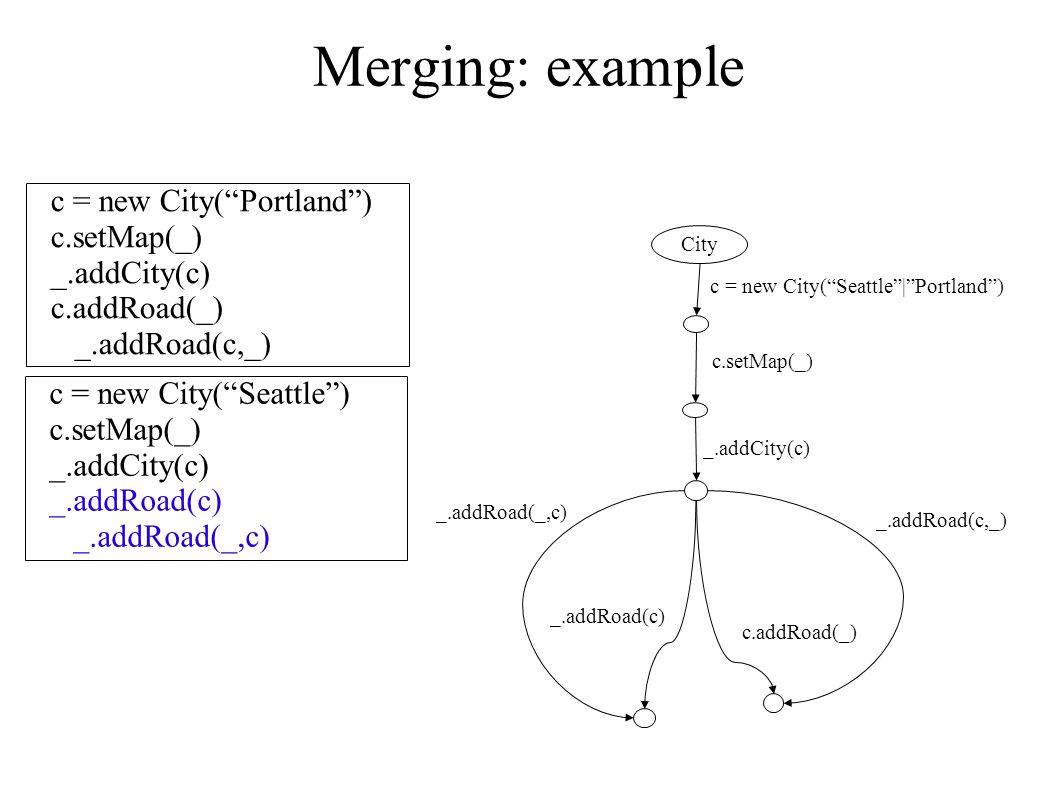 Merging: example c = new City( Portland ) c.setMap(_) _.addCity(c) c.addRoad(_) _.addRoad(c,_) c = new City( Seattle ) c.setMap(_) _.addCity(c) _.addRoad(c) _.addRoad(_,c) c = new City( Seattle | Portland ) City c.setMap(_) _.addCity(c) _.addRoad(c,_) c.addRoad(_) _.addRoad(_,c) _.addRoad(c)