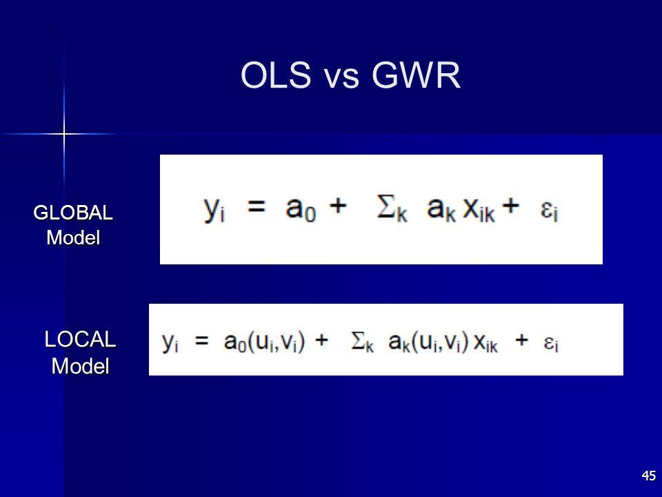 45 OLS vs GWR GLOBALModel LOCALModel