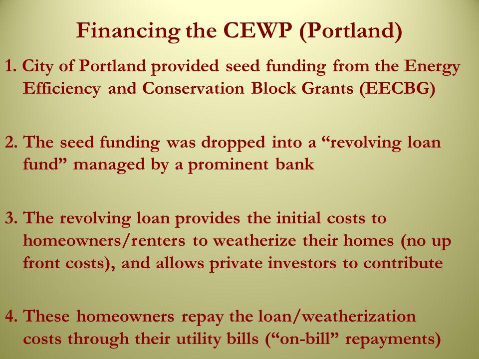 Financing the CEWP (Portland) 1.