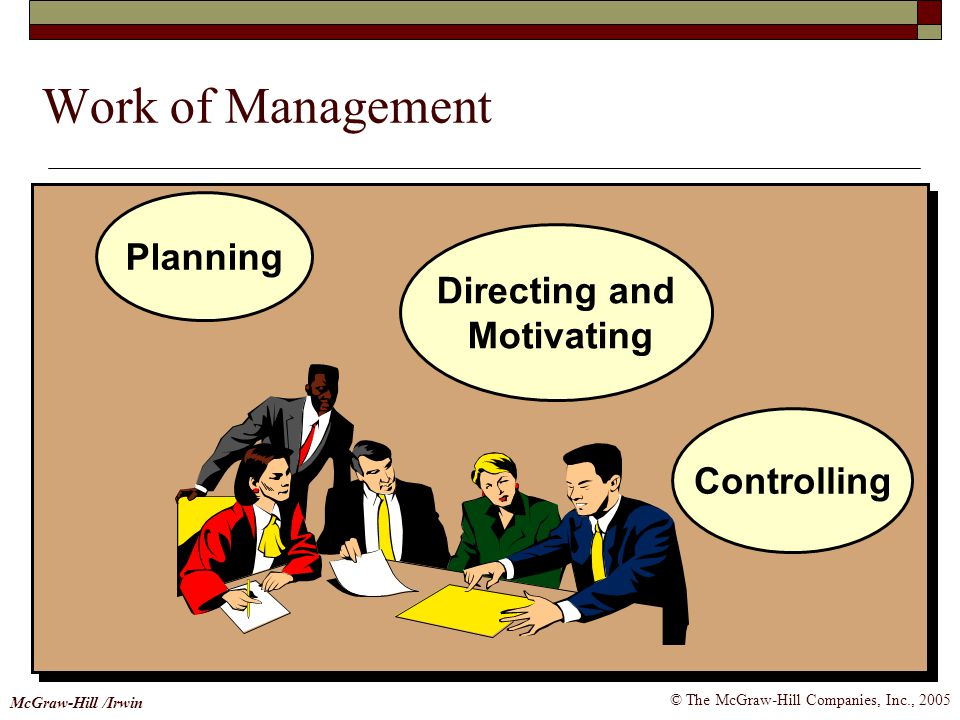 © The McGraw-Hill Companies, Inc., 2005 McGraw-Hill /Irwin Work of Management Planning Controlling Directing and Motivating