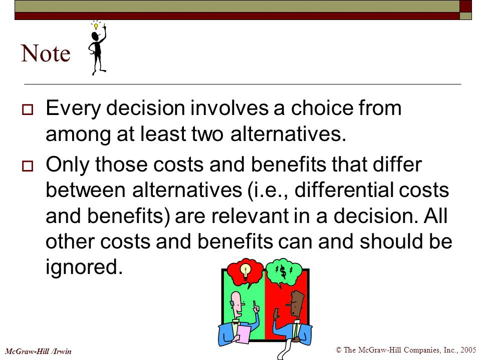 © The McGraw-Hill Companies, Inc., 2005 McGraw-Hill /Irwin  Every decision involves a choice from among at least two alternatives.  Only those costs
