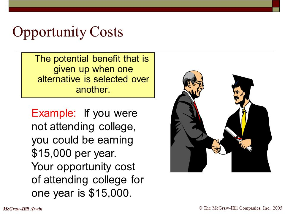 © The McGraw-Hill Companies, Inc., 2005 McGraw-Hill /Irwin Opportunity Costs The potential benefit that is given up when one alternative is selected o