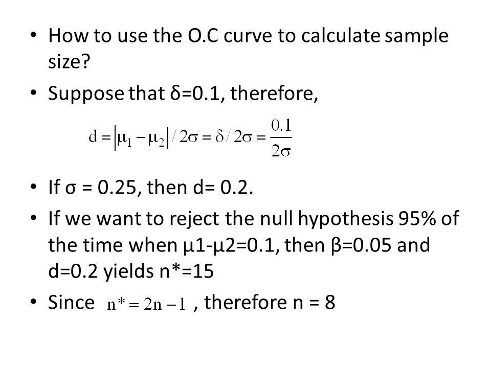 How to use the O.C curve to calculate sample size.