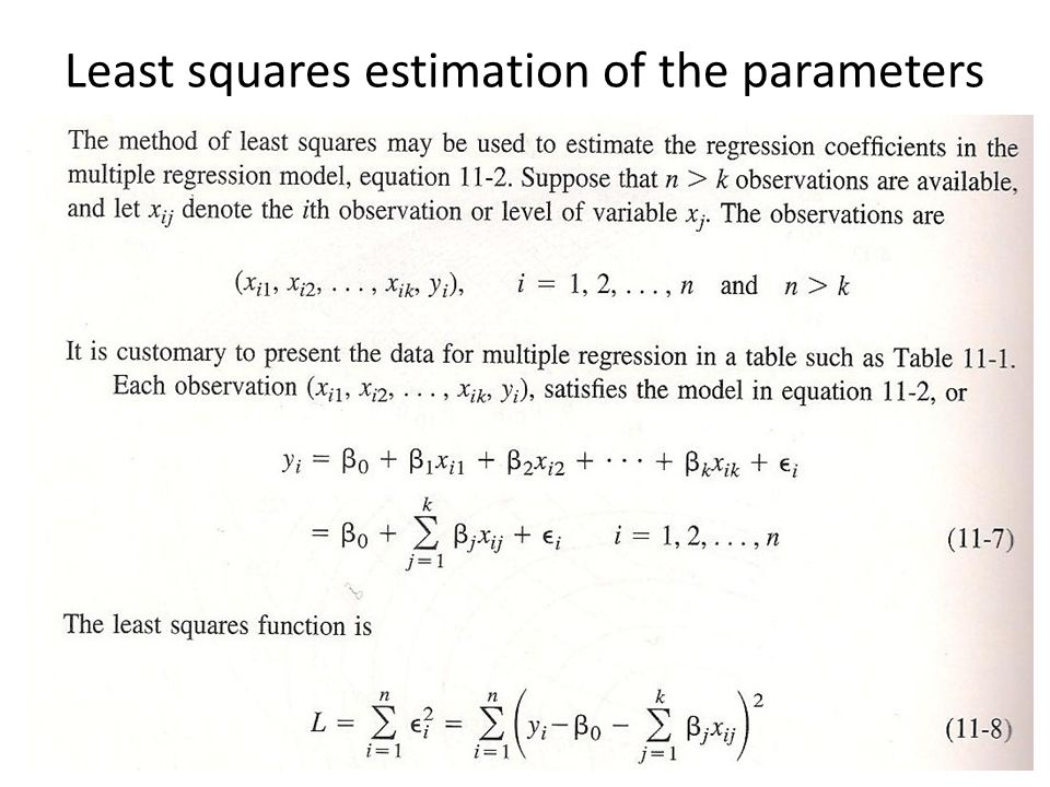 Least squares estimation of the parameters