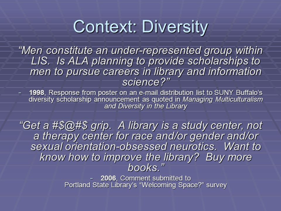 Context: Diversity Men constitute an under-represented group within LIS.