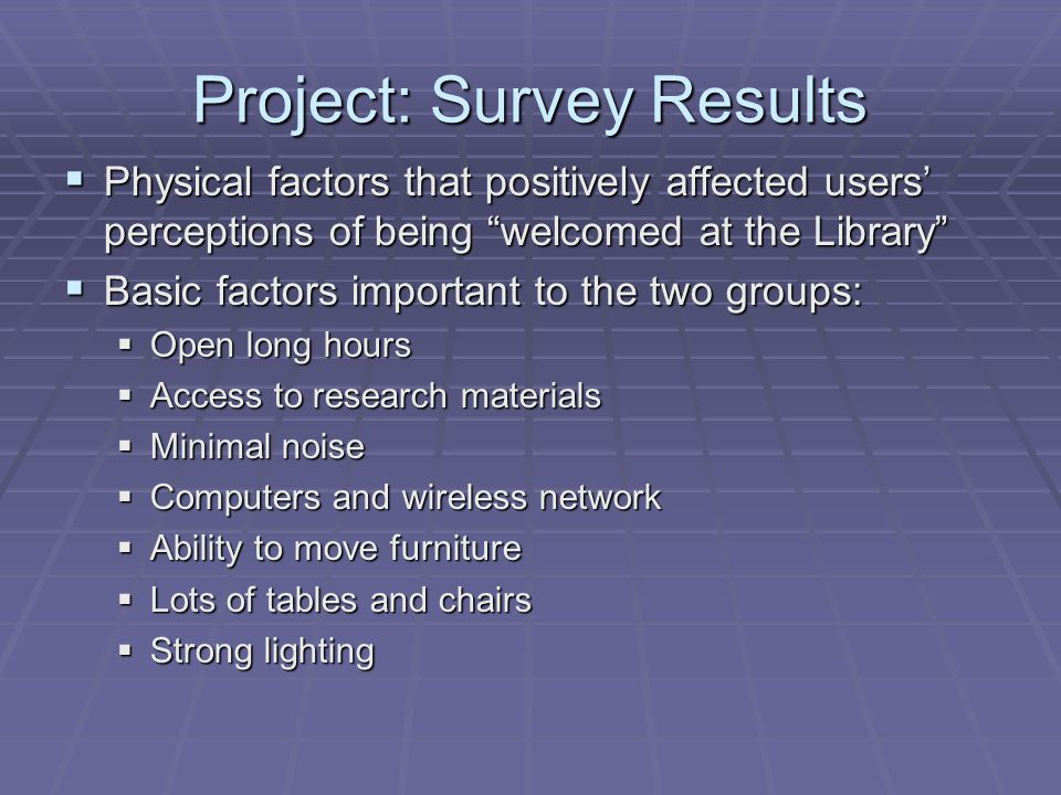 Project: Survey Results  Physical factors that positively affected users' perceptions of being welcomed at the Library  Basic factors important to the two groups:  Open long hours  Access to research materials  Minimal noise  Computers and wireless network  Ability to move furniture  Lots of tables and chairs  Strong lighting