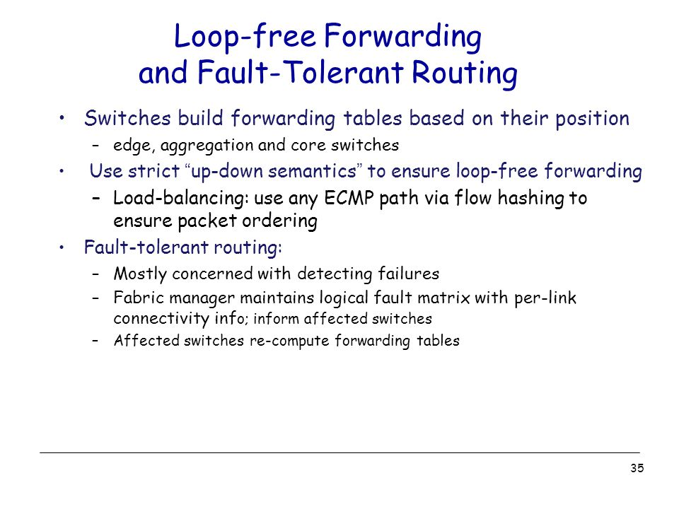 Loop-free Forwarding and Fault-Tolerant Routing Switches build forwarding tables based on their position –edge, aggregation and core switches Use strict up-down semantics to ensure loop-free forwarding –Load-balancing: use any ECMP path via flow hashing to ensure packet ordering Fault-tolerant routing: –Mostly concerned with detecting failures –Fabric manager maintains logical fault matrix with per-link connectivity inf o; inform affected switches –Affected switches re-compute forwarding tables 35