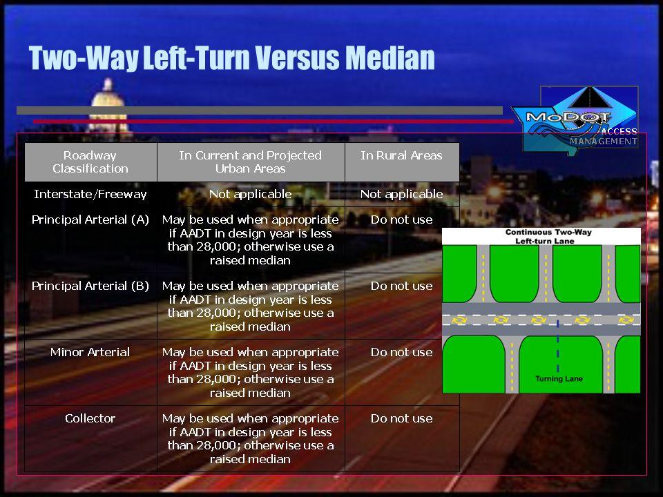 Two-Way Left-Turn Versus Median