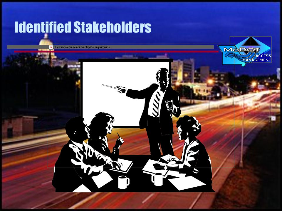 External Stakeholders Traveling public Real estate developers Economic development entities Local governments FHWA